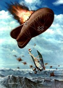 Pintura del ataque de Olivero a un globo de observación por Ezequiel Martínez